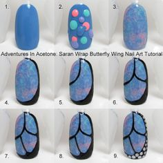 Tutorial Tuesday: Butterfly Wing Saran Wrap Nail Art!