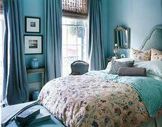 Lovely blue bedroom: Benjamin Moore 'Woodlawn Blue' + embroidered silk duvet by xJavierx, via Flickr