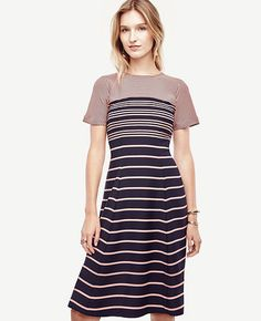 Image of Ombre Stripe Flare Dress
