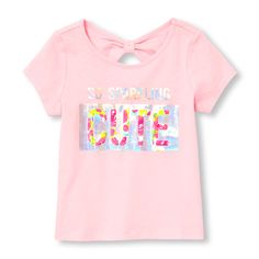 Toddler Girls Short Sleeve Embellished  Graphic Knotted Cutout Back Top