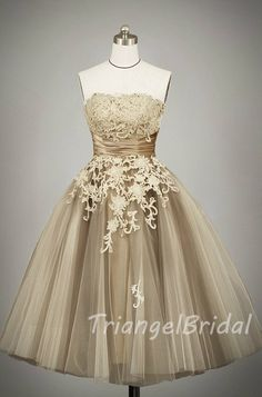Champagne Strapless Applique Lace Tulle  Knee by TriangelBridal, $189.00