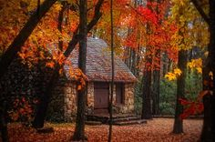 Everyone can identify with a fragrant garden, with beauty of sunset, with the quiet of nature, with a warm and cozy cottage. Cottage In The Woods, Cozy Cottage, Cabins In The Woods, Cozy Cabin, Witch Cottage, Cottage Homes, Stone Cabin, Autumn Cozy, Autumn Trees
