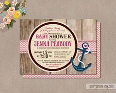 Nautical Baby Girl Shower Invitations - Rustic Baby Girl Shower Printable Invitations - Jenna Collection on Etsy, $25.00