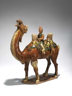 A sancai-glazed pottery figure of camel and rider from the Tang Dynasty