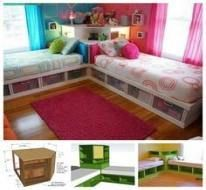 Small kids room for two twin beds 68 ideas for 2019 Kids Beds With Storage, Diy Storage Bed, Kids Bunk Beds, Bedroom Storage, Corner Twin Beds, Two Twin Beds, Space Saving Beds, Space Saving Furniture, Furniture Storage