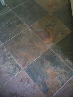Slate floor....Durable and stain-resistant....The various shades of slate products – brown, yellow, dark gray, pink, lavender and more – may even occur within the same piece of stone.