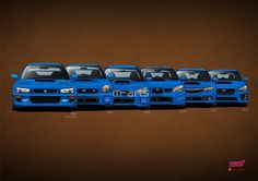 """Impreza WRX STi generations, with different designs. The first four generations are known as the """"angryeye"""" ('94), """"bugeye"""" ('01), """"blobeye"""" ('03) and """"hawkeye"""" ('05)."""