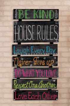 Chalkboard Home Decor   Decorate your home with a DIY Chalkboard outlining your family's house rules.