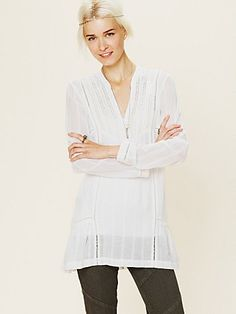 Long Sleeve Pintuck Texture Tunic