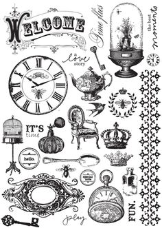 Prima - Printery Collection - Cling Mounted Rubber Stamps at Scrapbook.com $7.99