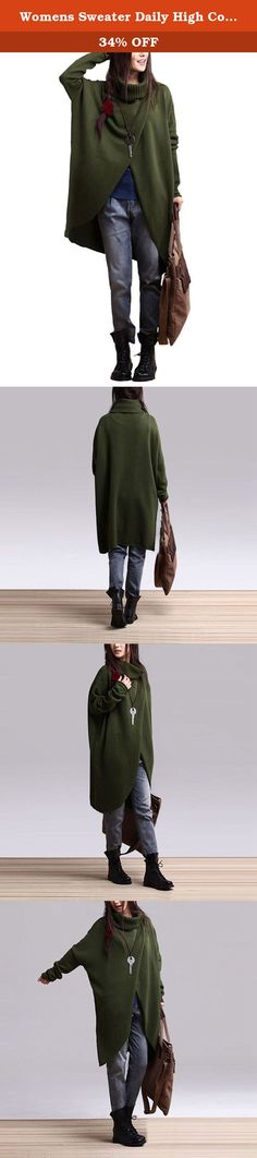 Womens Sweater Daily High Collar Long Shirt Knitwear Loose Casual Sweater coat (Green). The model DIU DIU is our special model, all pictures are real pictures taken in store and shall not be used without permission. Once found, we will take all efforts to protect our rights!if other seller follow selling our items, please kindly notice us or report to Amazon directly. we only guarantee our quality, we do not guarantee the quality of other sellers. Fabric: cotton 100% Brand: enjoysweety...