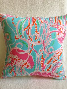 "Lilly Pulitzer Pillow ~ Lilly Pillow Cover ~ Throw Pillow ~ Dorm Room ~ Jellies Be Jammin ~ Aqua ~ Pink ~ Green ~ Orange ~ 16""x16"""
