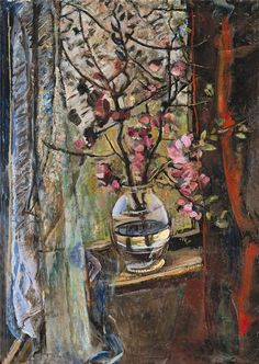 ❀ Blooming Brushwork ❀ - garden and still life flower paintings - János Pirk - Flowers in Window