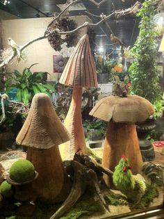 Big wooden?  mushrooms  Why not clay? Easy