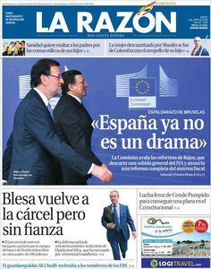 Los Titulares y Portadas de Noticias Destacadas Españolas del 6 de Junio de 2013 del Diario La Razón ¿Que le parecio esta Portada de este Diario Español?