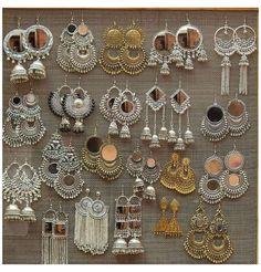 Indian Jewelry Earrings, Indian Jewelry Sets, Silver Jewellery Indian, Jewelry Design Earrings, Indian Wedding Jewelry, Silver Earrings, Silver Ring, Silver Bracelets, Jhumkas Earrings