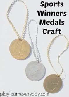 A fun and easy to make craft inspired by the Olympics to make sports medals crafts for your own winners races in gold, silver and bronze using a glue resist technique. Activities For Autistic Children, Outdoor Activities For Toddlers, Rainy Day Activities, Toddler Learning Activities, Water Activities, Creative Writing Ideas, Creative Arts And Crafts, Easy Crafts For Kids, Toddler Crafts