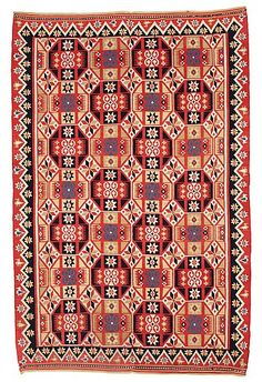 Bed cover, double-interlocked tapestry, Scania, Sweden, ca.1820-1830.