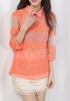 Orange Patchwork Embroidery Seven's SleeveThin Chiffon Blouse