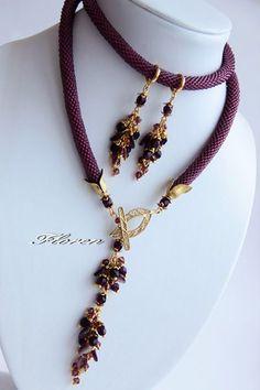 Жгут из бисера фиолетовый Rope Jewelry, Rope Necklace, Beaded Jewelry, Handmade Jewelry, Beaded Necklace, Beaded Bracelets, Necklaces, Bracelet Patterns, Metal Chain