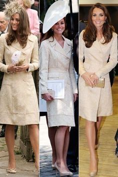 The Duchess wears the same dress three times with different accessories. Old favorite: Kate pictured in the gold colored embroidered coat dress (left to right: at the wedding of Laura Parker Bowles on May 6, 2006, (Prince William's stepsister), at the wedding of Zara Phillips (Prince William's cousin) and Mike Tindall on July 30, 2011 and finally at the opening ceremony of the Paralympic Games on August 29, 2012