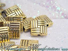 50 Antique Golden Weaved Square Shaped Beads 8x8mm