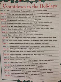 "Fun sensory activities for the kiddos. A ""sensory advent calendar"""