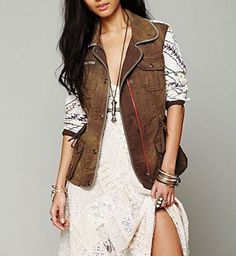 FREE PEOPLE $168 Printed Bohemian Jacket Distressed Utility Cargo Bomber Small #FreePeople #BasicCoat #Casual