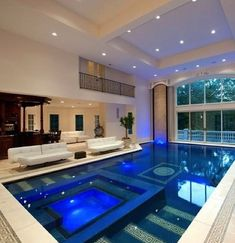 Dream house..I would love an indoor pool that has giant glass doors that slide pen to the outside.