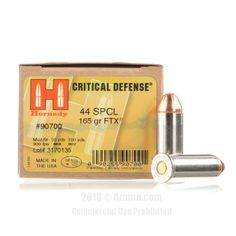 Hornady 44 S&W Special Ammo - 20 Rounds of 165 Grain JHP Ammunition #44Special #44SpecialAmmo #Hornady #HornadyAmmo #Hornady44Special #JHP #CriticalDefense