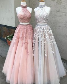 Appliques Tulle Two Piece Prom Dress, Floor Length