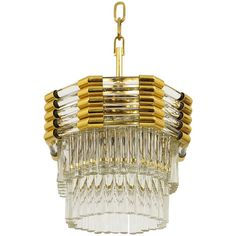 Elegant Bakalowits Vienna, Gold-Plated Brass Chandelier with Crystal Rods | From a unique collection of antique and modern chandeliers and pendants at https://www.1stdibs.com/furniture/lighting/chandeliers-pendant-lights/