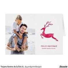 Tarjeta festiva de la foto del reno de navidad card