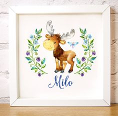 "Custom name print, nursery wall art Milo Moose is one of the Forest Friends animal set, home decor digital instant download square A3 16""x16"" - Print this as 16x16, 12x12, 8x8 etc. This lovely personalised watercolour print of a baby moose surrounded by sweet blackberries and flowers makes a lovely gift to welcome a new baby or as nursery wall art or a child's bedroom print. by Latch Farm Studios"