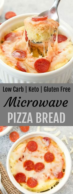 This single serving cheesy pizza bread is gluten free, wheat flour free, low carb and keto. It cooks in 2 minutes in the microwave! Low Sugar Recipes, Healthy Low Carb Recipes, Low Carb Dinner Recipes, No Sugar Foods, Keto Recipes, Healthy Food, Easy Recipes, Supper Recipes, Wrap Recipes