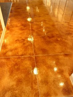Photos of Acid-Stained Decorative Concrete Overlay of Commercial Floor with Decorative Scoring Acid Stained Concrete Floors, Cement Stain, Concrete Staining, Linoleum Flooring, Brick Flooring, Unique Flooring, Flooring Ideas, Concrete Overlay, Removing Carpet