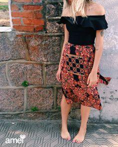 Peças lindas feitas com carinho pela @loja_amei❤️ •saia midi linda🍃 • cropped de babado✨ #lojaamei #novidades #saia #cropped #muitoamor #estampa #moda #leve