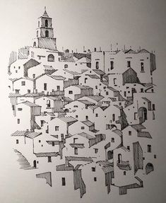 Architecture in pen & ink ( Conceptual Architecture, Watercolor Architecture, Architecture Drawings, Pen Sketch, Doodle Sketch, Sketches, Aesthetic Drawing, Aesthetic Art, Village Drawing