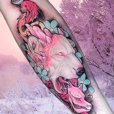 Neo-traditional albino bear tattoo by Brando Chiesa. #BrandoChiesa #neotraditional #albino #creature #animals #pastel #japanese #cherryblossom #bear #crystal #gore #japanesetattoos