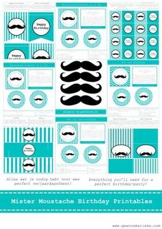 Free Moustache Party Printables By Cinbin