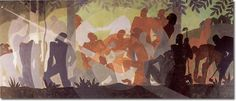 Artist of the month: Aaron Douglas - WetCanvas  [Mural: An Idyll of the Deep South, Aspects of Negro Life Series, 1934