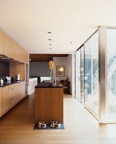 The kitchen, with Richlite counters and upper cabinets that reach to the ceiling.