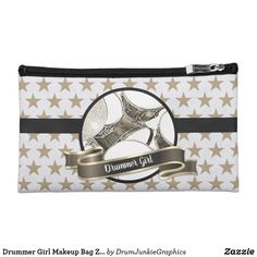 Drummer Girl Makeup Bag Zip Cosmetic Drummer Bag