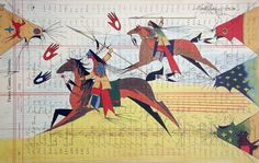 Counting Coup - Don Montileaux - print. Don Montileaux's colorful and dynamic ledger art print shows warriors 'counting coup,' a practice of Northern Plains Indians. Native American Pictures, Native American Artwork, Native American Artists, American Indian Art, Native American Indians, Plains Indians, American Women, American History, Indian Artwork