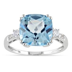 Miadora 10k White Gold Blue Topaz, Created White Sapphire and Diamond Ring | Overstock™ Shopping - Top Rated Miadora Gemstone Rings