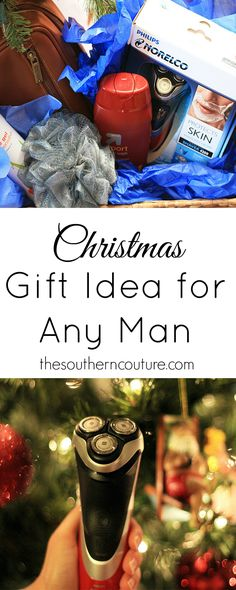 """No matter any man, this """"manly"""" gift basket idea is perfect. Get all the details at thesoutherncouture.com and tips for putting together your own. #GiftOfPhilips #ad"""