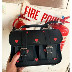 Black Leather Micro Satchel by Grafea with Red Hearts Print Source by ipelengaudreym Satchel Handbags, Purses And Handbags, Leather Handbags, Fashion Bags, Fashion Backpack, Fashion Outfits, Sacs Design, Stylish Backpacks, Cute Purses