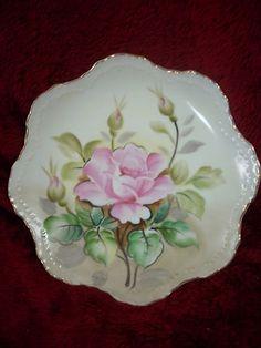 Vintage Lefton China Plate Roses NE2513 Gold Scalloped Edge Hand Painted | eBay