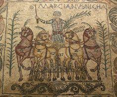 Roman Mosaic. Roman Horses. Mérida (Emerita Augusta), Spain.