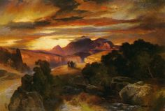 Sunset Artwork By Thomas Moran Oil Painting & Art Prints On Canvas For Sale Beautiful Paintings Of Nature, Nature Paintings, Landscape Paintings, Watercolor Paintings, Beautiful Landscapes, Thomas Moran, Art Thomas, Hudson River School, Cool Landscapes